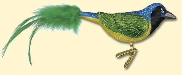 GREEN JAY OLD WORLD CHRISTMAS GLASS CLIP ON BIRD W/ FEATHER TAIL ORNAMENT 18100