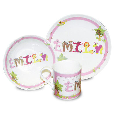 CHILDRENS BOYS GIRLS PERSONALISED DINNER SET 1st Birthday Christening Gift Idea