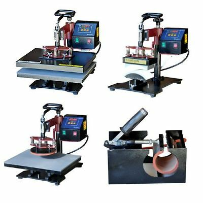 6 in 1 T Shirt, Mugs, Hat, Plates Sublimation Transfer Heat Press Machine New