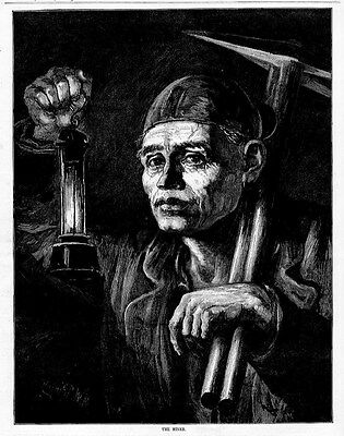 COAL MINER CANDLE LANTERN PICKAX ANTIQUE ENGRAVING MINING OCCUPATION COAL MINE