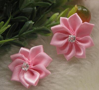 40pcs U pick satin ribbon flowers bows with Appliques Craft DIY Wedding E123