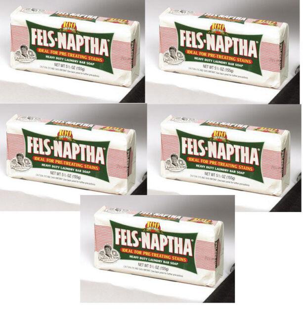 5 bars of Fels Naptha Laundry Soap Heavy duty laundry bar soap NOT PUREX LABEL