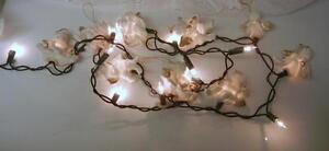 Vntg rare christmas tree figural 9 pc ceramic angels lights 5 ft
