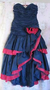 Rare-Vtg-80s-CELEBRITY-DESIGNER-Asymmetric-Fishtail-Mini-Maxi-Ball-Gown-Dress