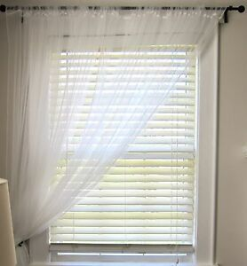 Ikea pair long floaty white net curtains 3m long can be - Tende corte ikea ...