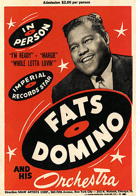 AD57 Vintage 1950's Fats Domino Orchestra Music Concert Poster A4 Re-Print