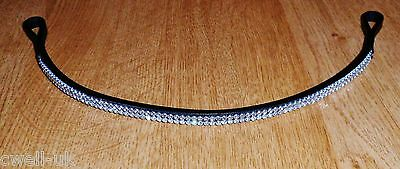 New Designer ** 2 rows ** Crystal ** Browband full Size  - Black on sale