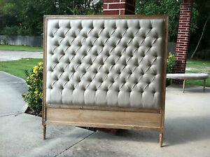 Demi-Tufted-Linen-Upholstered-Headboard-Natural-White-Finish-Queen-and-King-Size