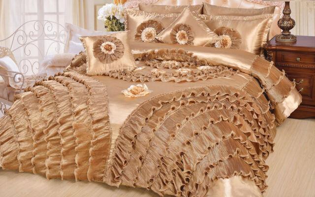DaDa Bedding Fancy Shiny Golden Luxury Ruffle Royal Down Comforter Set - 3-6PCs