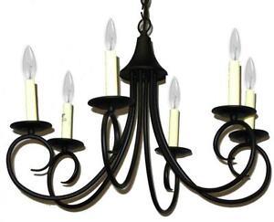 Kichler Black Wrought Iron Scroll Design Six Light