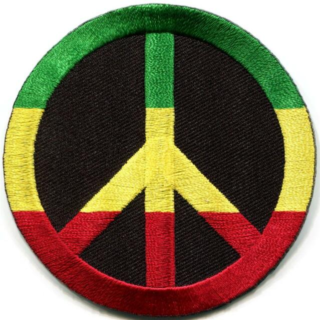Peace sign hippie retro Judah flag weed pot reggae applique iron-on patch G-93
