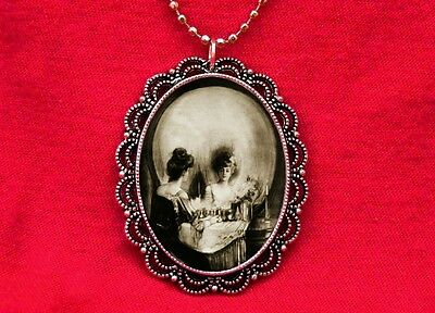 SKULL WOMAN VICTORIAN VANITY OPTICAL ILLUSION NECKLACE