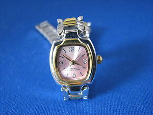 Ladies-Chaoyada-Silver-and-Gold-Tone-Pink-Face-Quartz-Watch