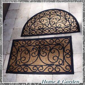 fu matte gummi kokos t rmatte fu abtreter rechteckig oder halbrund neu ebay. Black Bedroom Furniture Sets. Home Design Ideas