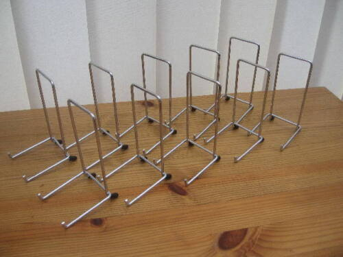 "10 X CHROME PLATE DISPLAY STANDS FOR UP TO 8"" (20CM) ITEM (5""/12cm tall approx)"