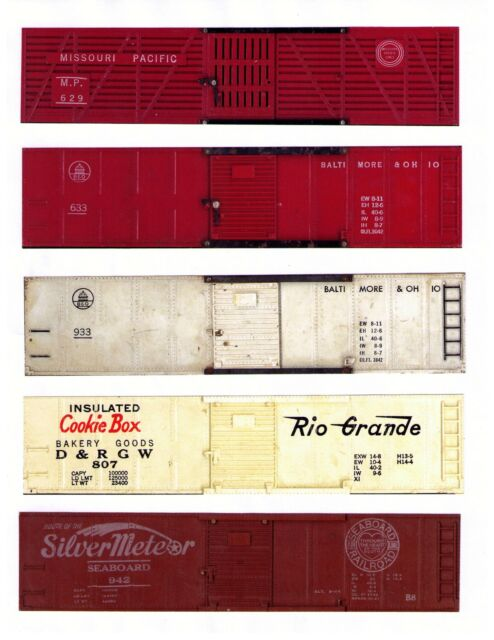 AMERICAN FLYER printed sides for 5 different cars, S scale set #2