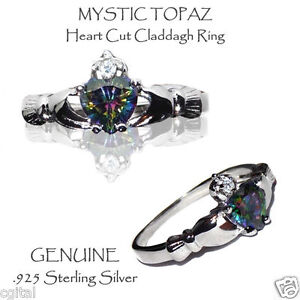 Rainbow Mystic Topaz Claddagh Ring