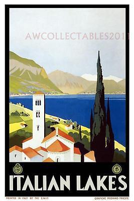 "ITALIAN LAKES VINTAGE ART DECO LANDSCAPE TRAVEL POSTER  24"" x 17.00"" A2+"