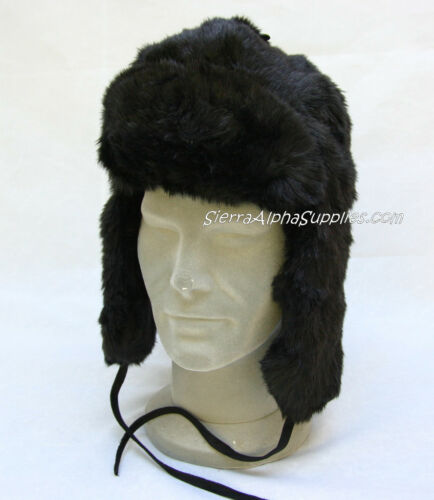 NEW BLACK RUSSIAN FAUX FUR COSSACK STYLE WINTER HAT FLAP DOWN EARS-SIZE S,M,L,XL