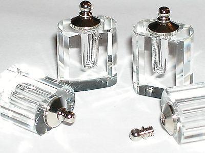1 CLEAR Lg flask Perfume oil pendant charm findings rice facet bottle SCREW CAP