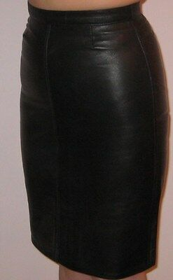 Black Genuine Leather High Waisted Pencil Skirt UK Various Sizes