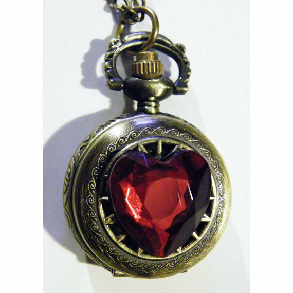 Steampunk Blood Red Faceted Heart Pocket Watch Necklace