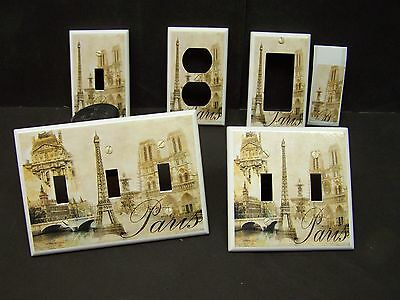 EIFFEL TOWER PARIS  DESIGN #10  TAN SHADES LIGHT SWITCH COVER PLATE OR OUTLET