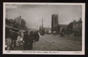 Durham-STOCKTON-ON-TEES-High-St-market-RP-PPC-1907