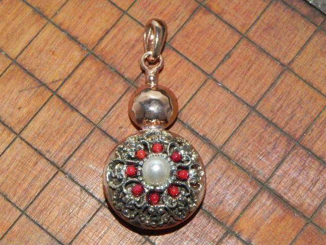 Coral Freshwater Pearl Pendant Renaissance Style 22Kt Pink Gold over Silver