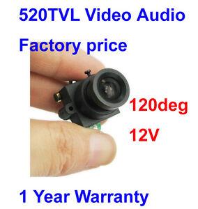 New-520TVL-High-Video-Audio-120deg-lense-Wide-Angle-Mini-CCTV-Color-Camera-12V
