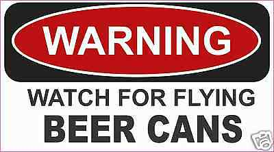 """Beer Warning Flying Cans Decal Sticker  Funny ATV Toolbox  2.75"""" x 4.75"""""""