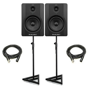 M-Audio-BX5-D2-5-Active-Powered-Studio-Monitors-Pair-w-Stands-Cables