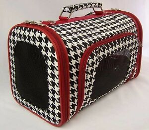 Luggage-Style-Houndstooth-with-Red-Trim-pet-dog-cat-carrier-Airport-Approved-NEW
