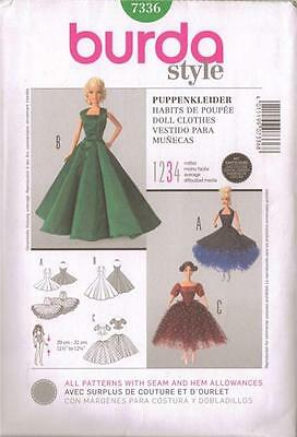 "Burda Sewing Pattern 7336 11 1/2"" 12 1/4"" Fashion Doll Clothes Gown Fits Barbie"