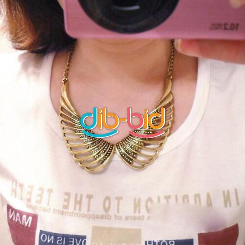 Fashion Retro Hollow Out Metal Angel Wing Choker Bib False Collar Necklace 07