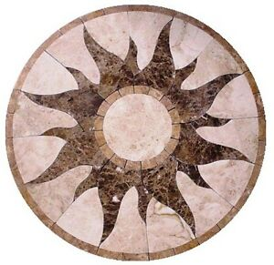 Floor Marble Medallion Sun Design Travertine Tile Mosaic