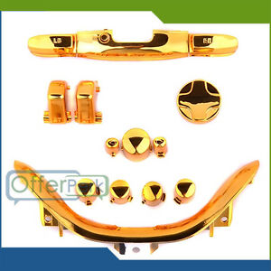 Xbox-360-Controller-Chrome-Gold-ABXY-LT-RT-LB-RB-Replacement-Buttons-amp-Parts