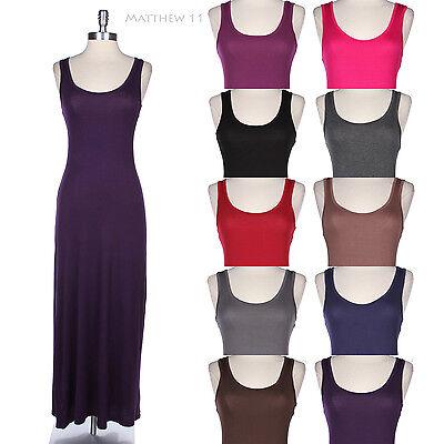 Solid Plain Sleeveless Round Neck Long TANK MAXI Sun Dress BASIC JERSEY Rayon