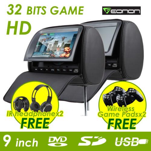 "C1037 2x9"" HD LCD In Car Black Pillow Headrest DVD Player IR Headphone"