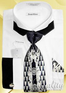 Daniel-Ellissa-Square-Collar-Dress-Shirt-16-5-36-37-White-Tie-Hanky-Cuff-Links