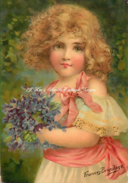 Sweet Frances Brundage Girl w Violets Fabric Block 5x7