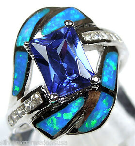 Princess-cut-Tanzanite-amp-Blue-Fire-Opal-Inlay-925-Sterling-Silver-Ring-All-Sizes