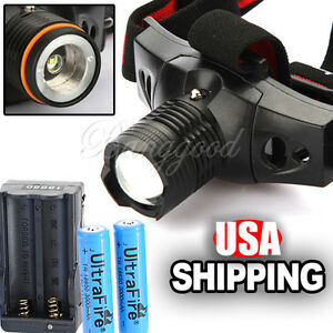 CREE-Q5-LED-5W-3Mode-Zoomable-Rechargeable-Headlamp-Set-2x-18650-Battery-Charger