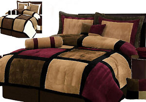 Burgundy-or-White-Brown-and-Black-Suede-Patchwork-Comforter-Set-Bed-In-A-Bag