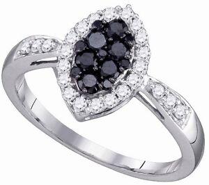 10-Quilates-Oro-Blanco-Blanco-y-Negro-Anillo-con-Diamante-con-Foma-de-Marquisa