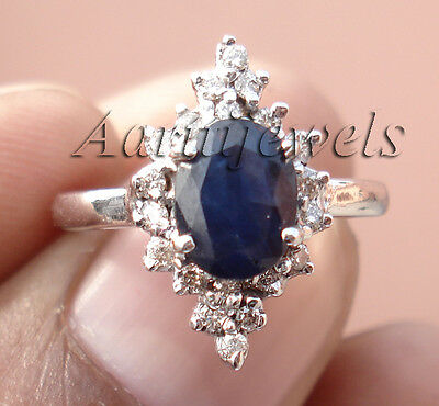 0.55ct Diamond Blue Sapphire 14k White Gold Women's Ring Shop Early & Save