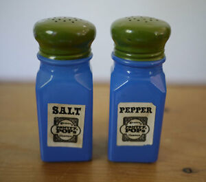 Vintage 70s gemco pantry pops colorful blue green glass Colorful salt and pepper shakers