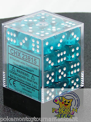 Chessex Translucent 12mm dice set teal with white 36 pieces die set WoW mtg