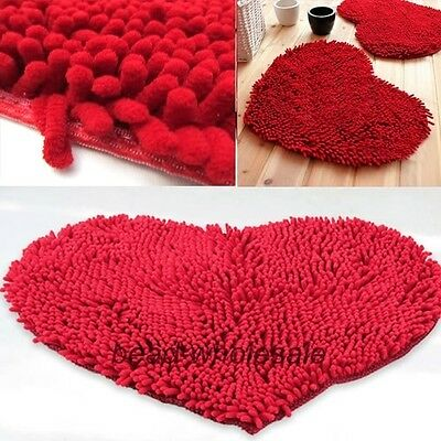 Fluffy Bedroom Rug Carpet Red Love Heart Bath Mat Doormat Chenille Pad 48x35m