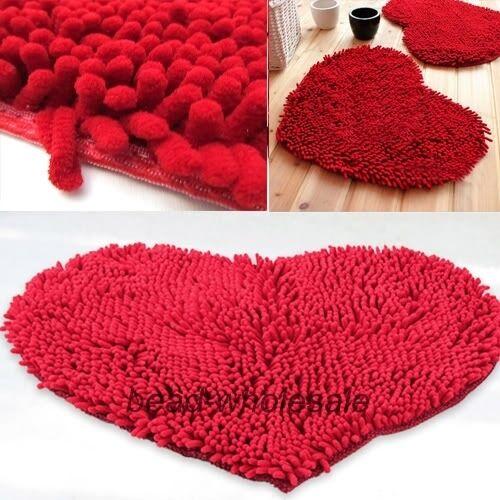 Fluffy Bedroom Rug Carpet Red Love Heart Bath Mat Doormat Chenille Pad 48x35m